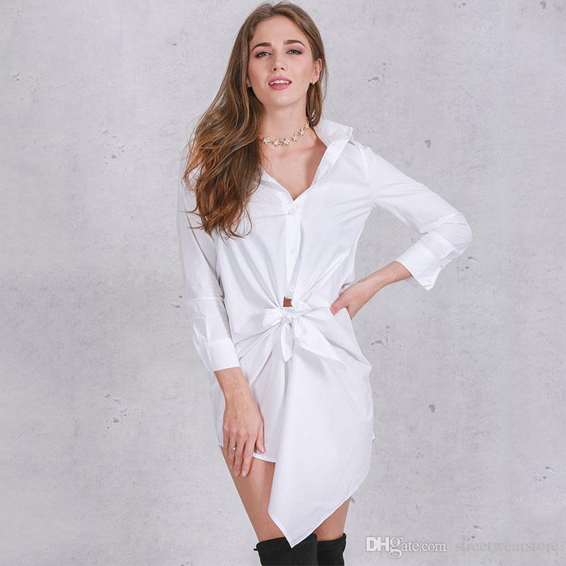 more photos 53027 f946d Abito corto abito bianco camicia donne Abito estivo manica lunga arco sexy  2017 nuovi abiti da ufficio casual nero dritto
