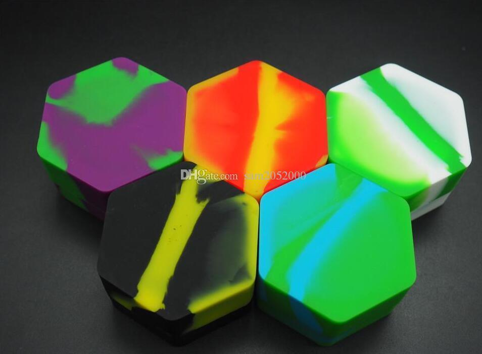 100 pz / lotto unico esagono in silicone contenitore antiaderente vaso di silicone cera bho olio vaporizzatore silicio vasetti Dab contenitore di cera e sigaretta