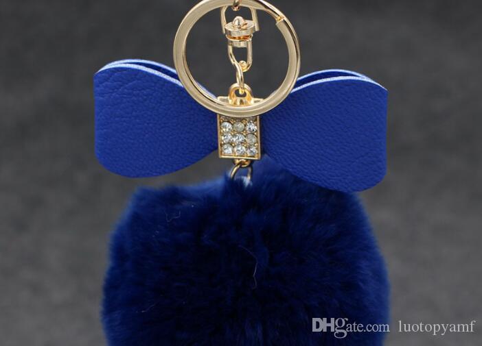 bowknot الفراء بوم المفاتيح ريال ريكس الأرنب الفراء الكرة سلاسل الفراء مفتاح حلقة مفتاح سلسلة ل حقيبة شحن مجاني