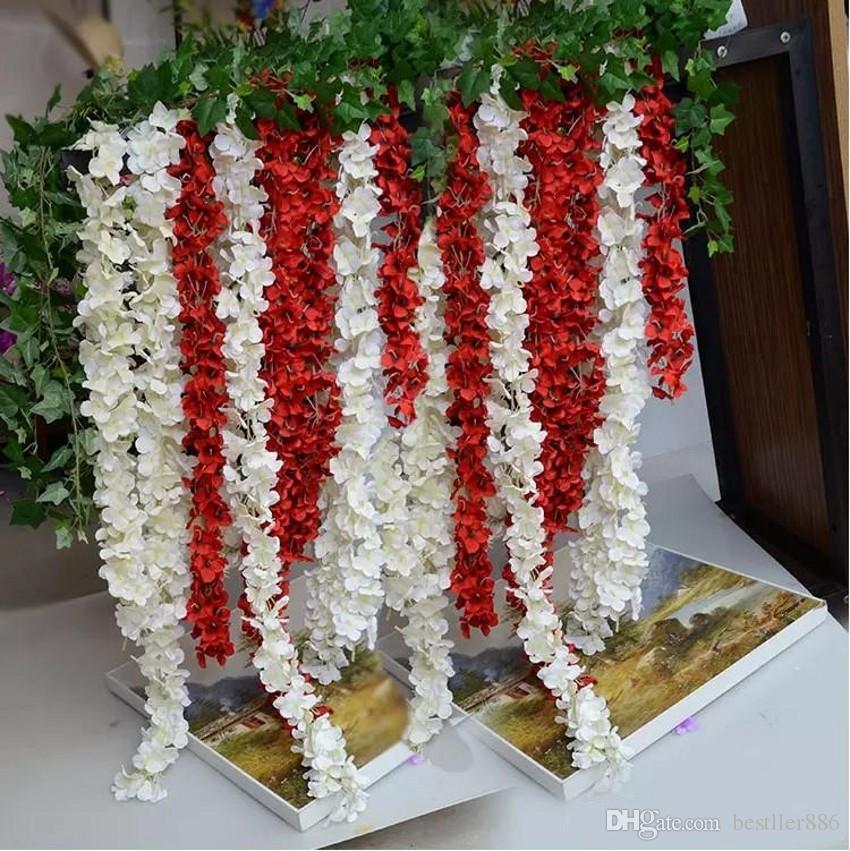 "80""200cm Super Long Artificial Silk Flower Hydrangea Wisteria Garland For Garden Home Wedding Decoration Supplies Available"