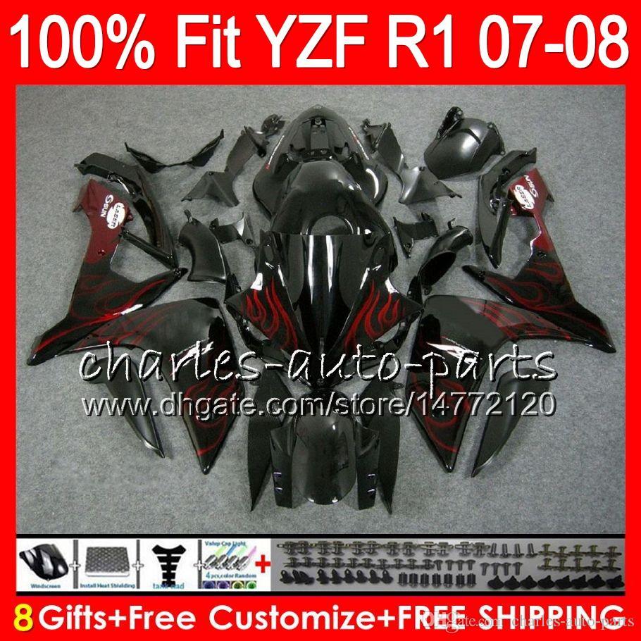 8Presentes de 23Cores de Injeção Para YAMAF YZF1000 YZFR1 07 08 YZF 1000 chamas vermelhas 37HM16 YZF-R1 07-08 YZF-1000 YZF R 1 YZF R1 2007 2008 Carenagem