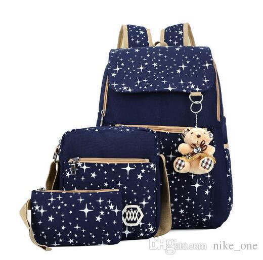 School Backpacks for Girls Canvas Backpack Set Patterned Bookbag Laptop Kids Bag School Backpack Trip Bag Students