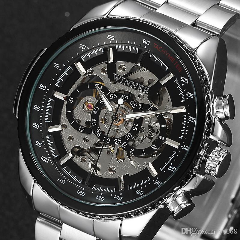 17310c9454a Compre Vencedor Esqueleto Mecânico Relógio De Luxo Dos Homens De Aço  Inoxidável Preto Moda Casual Marca Militar Relógios Desportivos Relogios  Masculino De ...