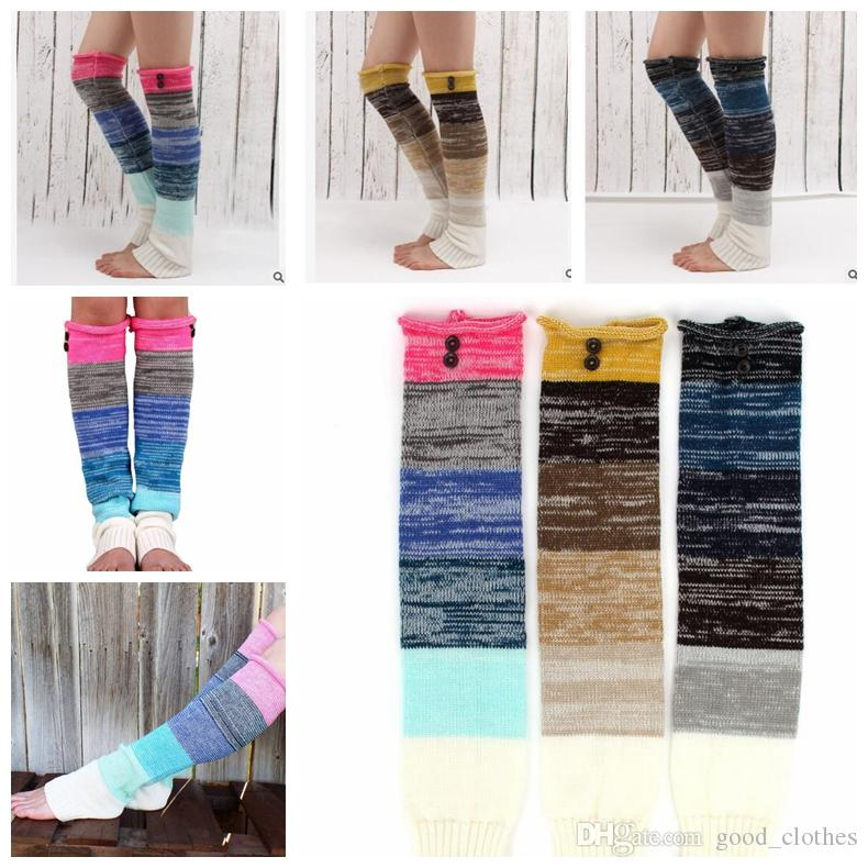 stitching knitting leg warmers Long over knee button warm boot cuffs wool socks button winter Leggings Warm up knitted boot KKA3266