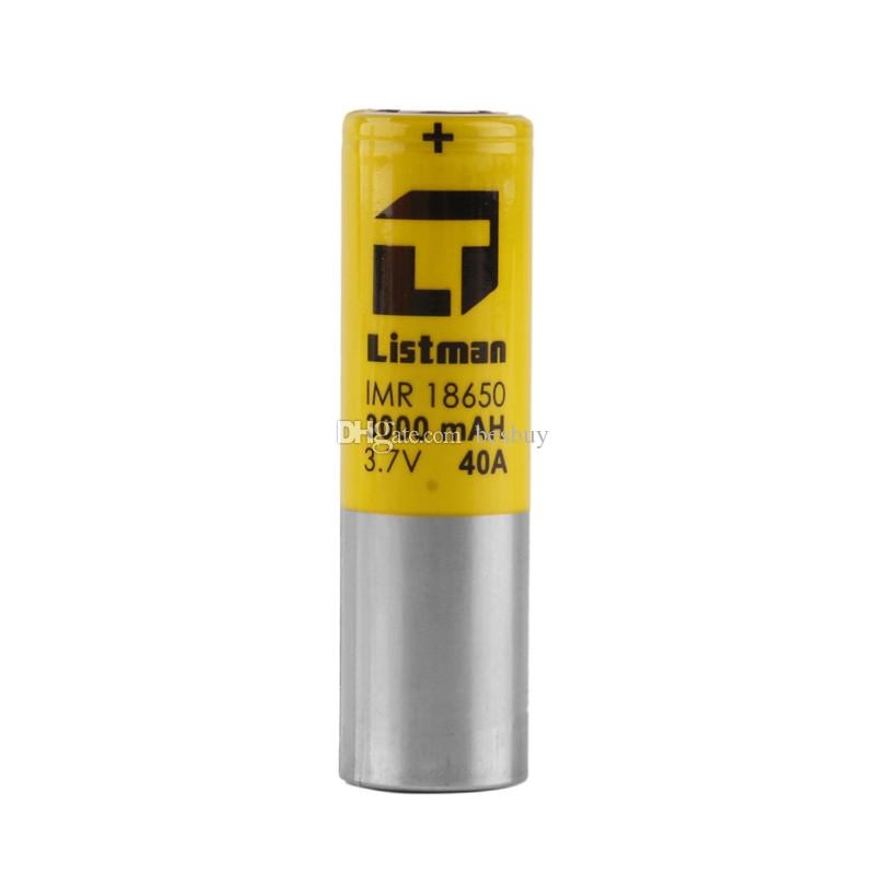 Authentic Listman IMR 18650 3000mAh 40A 3.7V High Drain Rechargeable Battery For Original 510 Thread Box Mod 100% Genuine 2221019