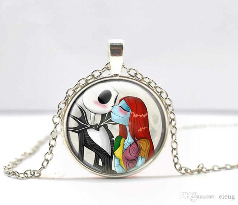2/Color Newest Fashion Glass Nightmare Before Christmas Chain Necklace with 2.8CM Pendant for DIY Necklace EXL400