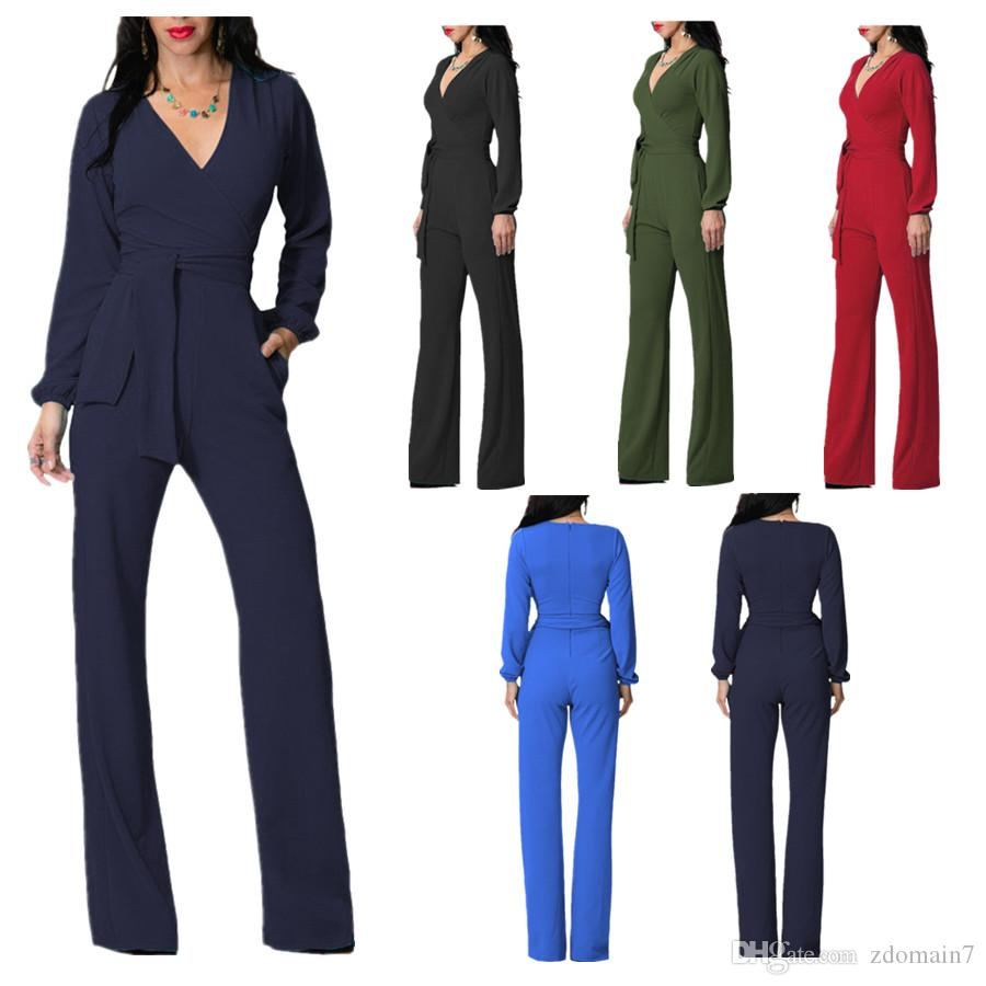 New Fashion Sexy Wide Leg Elegant jumpsuits V-neck Embellish Cuffs Long Mesh Sleeves Overalls For Women