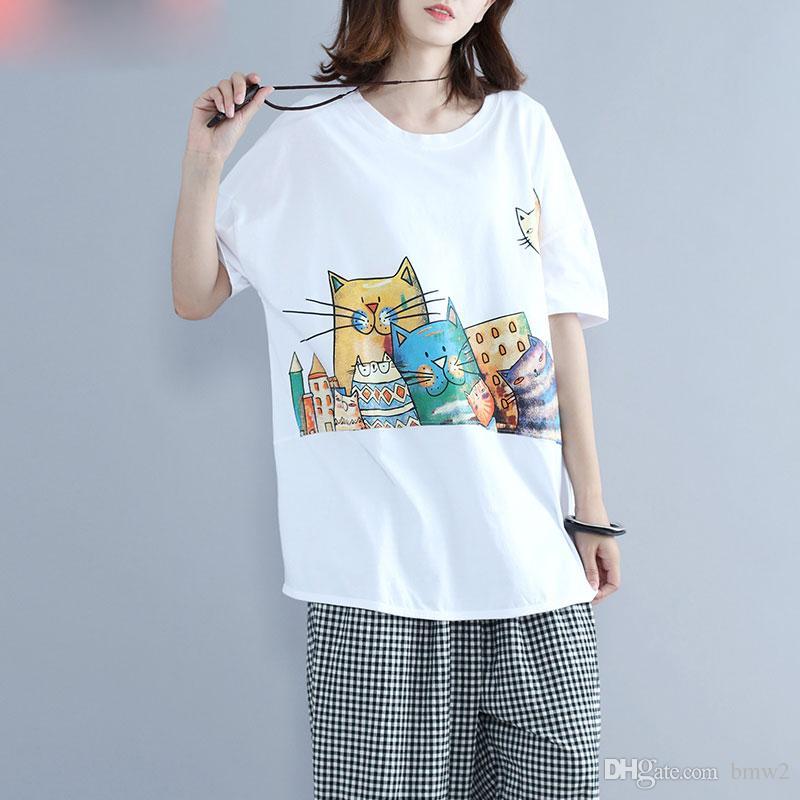 66a1e6ec8 Summer T Shirt Plus Size Women Cartoon Cat Print Female Casual Cotton Loose  Kawaii Large Size Korea New Lady 2017 Designer White T Shirt Printed T  Shirts ...