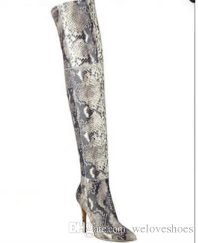 2017 женщины бедра высокие сапоги змеиная кожа печати пинетки тонкий каблук точка toe высокий Гладиатор пинетки платье обувь над коленом высокие сапоги