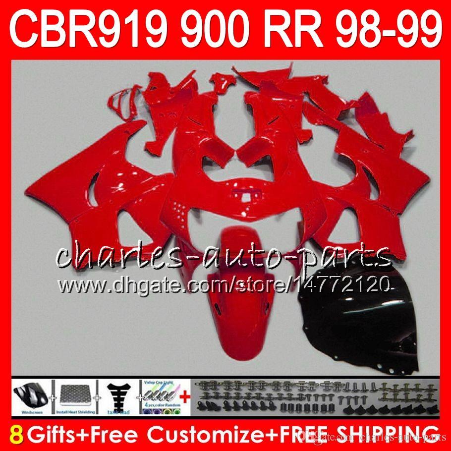 Body For HONDA CBR 919RR CBR900RR CBR919RR 98 99 CBR 900RR TOP ALL Red 68NO19 CBR919 RR CBR900 RR CBR 919 RR 1998 1999 Fairing kit 8Gifts