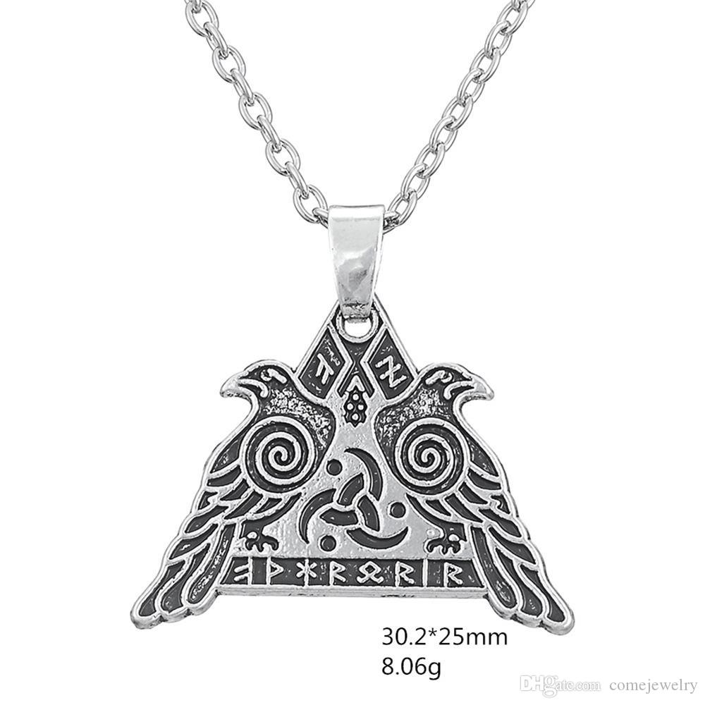 comejewelry Odin's Huginn and Muninn Crow Valhalla Runic Viking Warrior WICCAN Valknut Viking Pendant Men Necklace Antique Jewerly