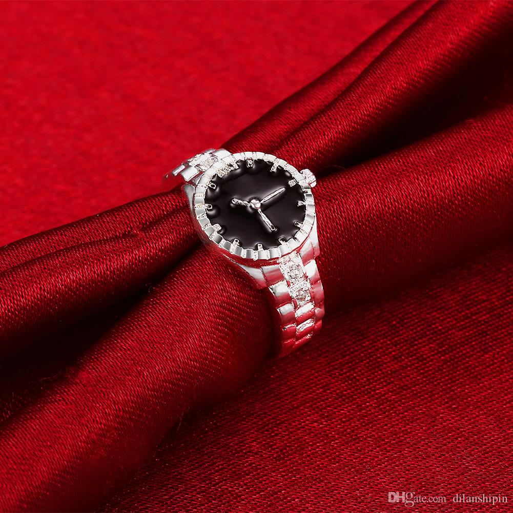 Sterling silver Ring For Women Girls Austrian crystals Rhinestone copy Watch Shape Finger Ring Bague Wedding Bridal engagement Party jewelry