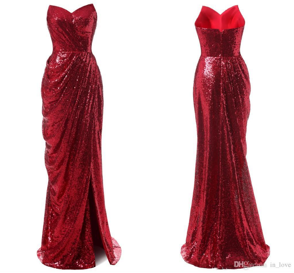 Новая Мода Блестящие Красные Вечерние Платья Милая Длинные Оболочки Сторона Сплит Блестками Женщины Вечерние Платья Нестандартного Размера