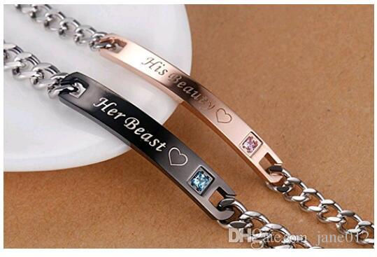 Titanium Steel Couple Hand Bracelet Europe Rose Gold Black Crown Heart Letter Print Lovers Chain Bracelet for Valentine s gift