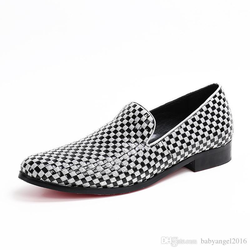 Neue Weaving Plaid Männer echtes Leder-Kleid-Schuhe Hochzeit Men Handgemachte Loafers Jahrgang Mokassins Plus Size Male Wohnungen