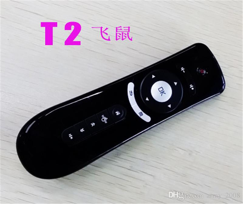 Mini Fly Air Mouse T2 2.4G Wireless Keyboard Android remote control 3D Sense Motion Stick For Smart TV