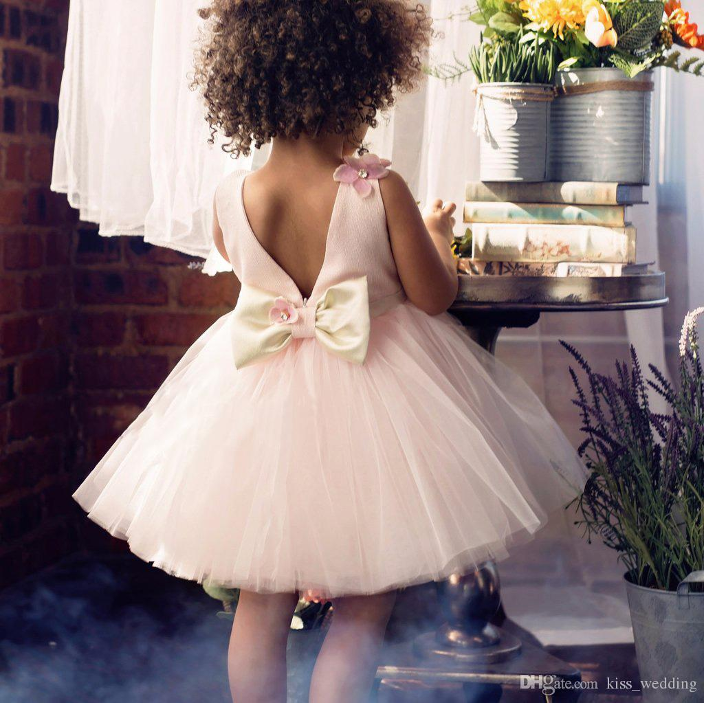 Cute Mini Tulle Gown Real Image Prom Dresses Little Girls With Bow Handmade 3D Florwes Junior Bridesmaid Dress Teens Formal Wear