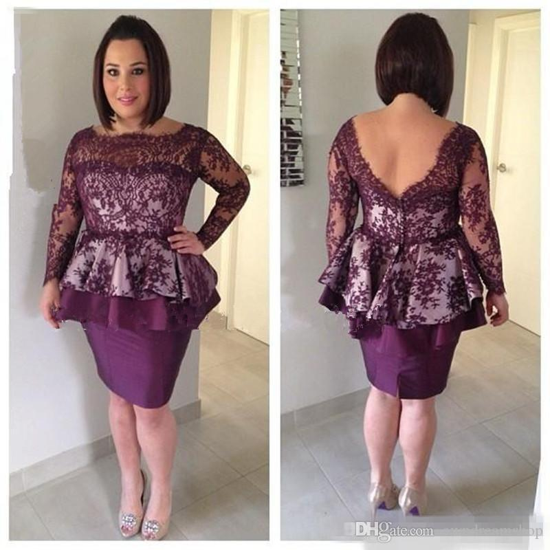 Purple Sheath Column Lace Sheath Cocktail Evening Dresses With Long Sleeves 2017 Women Plus Size Short Formal Mother of the Bride Dresses