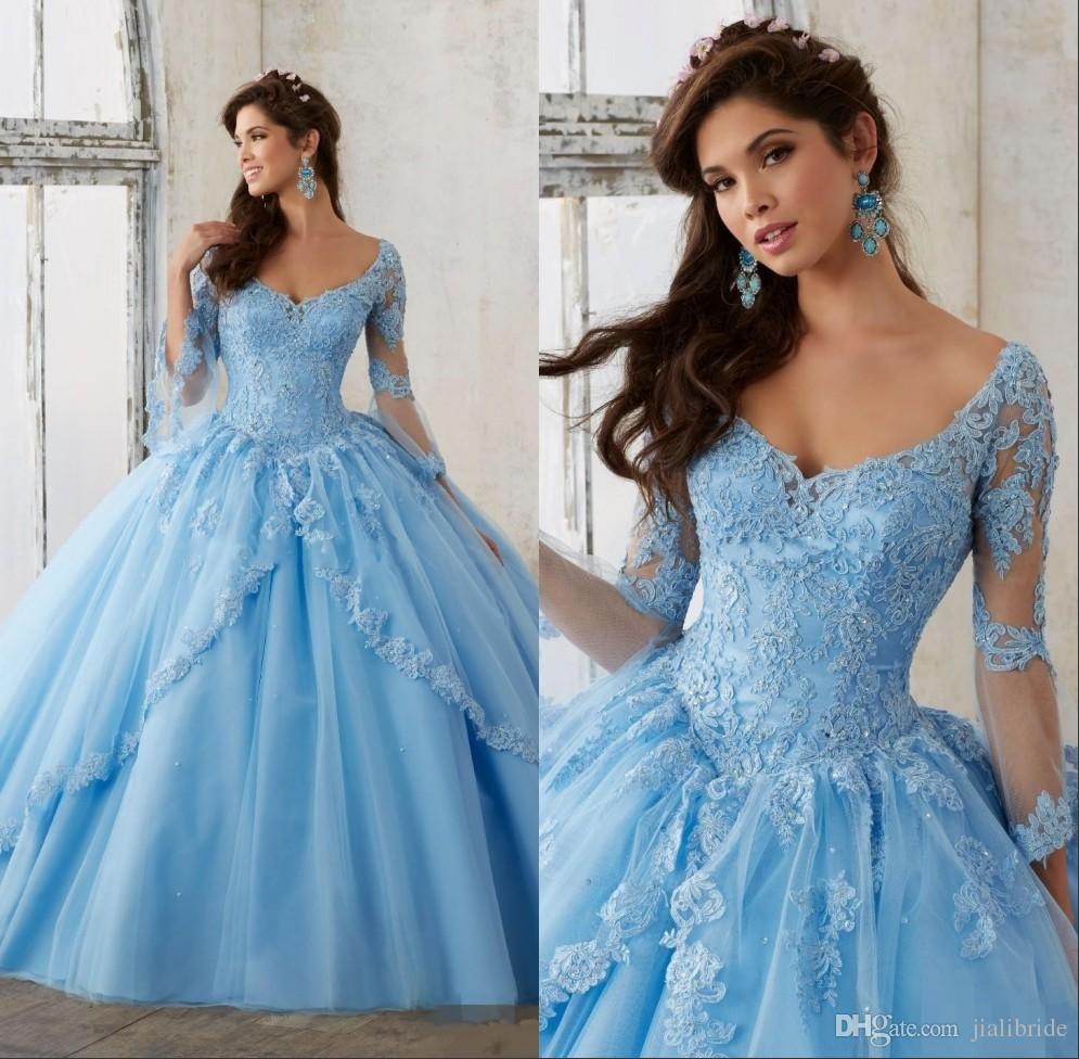 Sweet 16 Dresses Long Sleeve Blush Sky Blue Masquerade Quinceanera ...