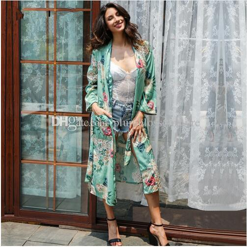 2018 Floral Print Blouses Shirts Long Kimono Women Sashes Pocket ...