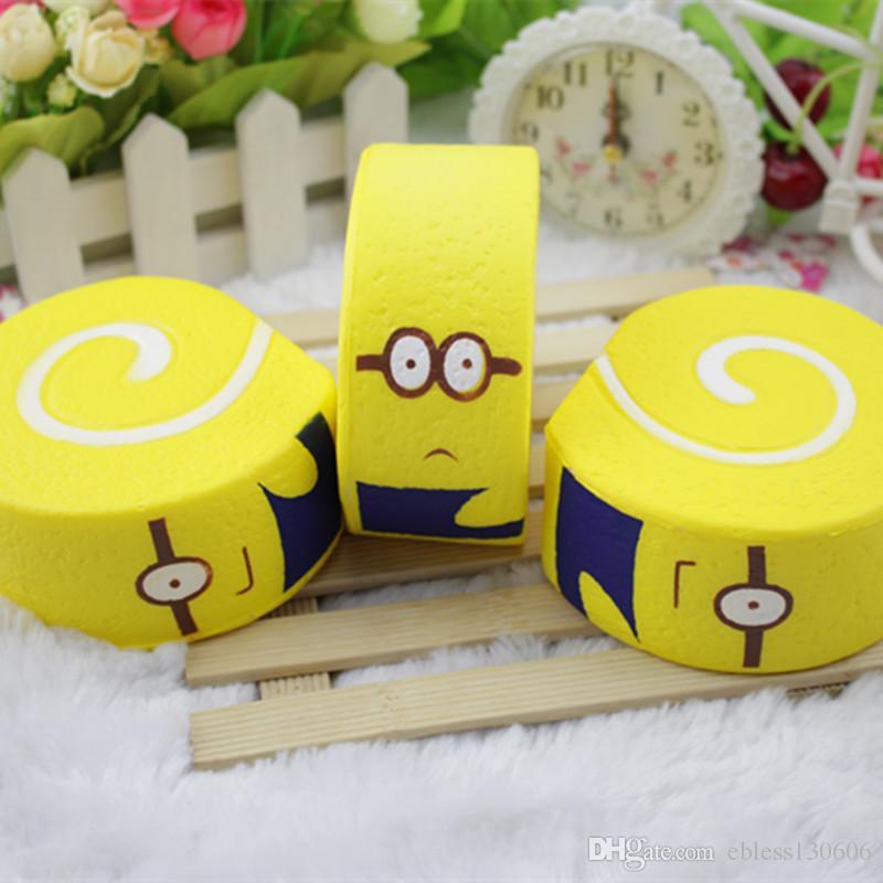 Minions squishy simula a comida para jogar pão bolo levar fragrância brinquedo bonito prop mini squishies espremer desenhos animados brinquedos presentes