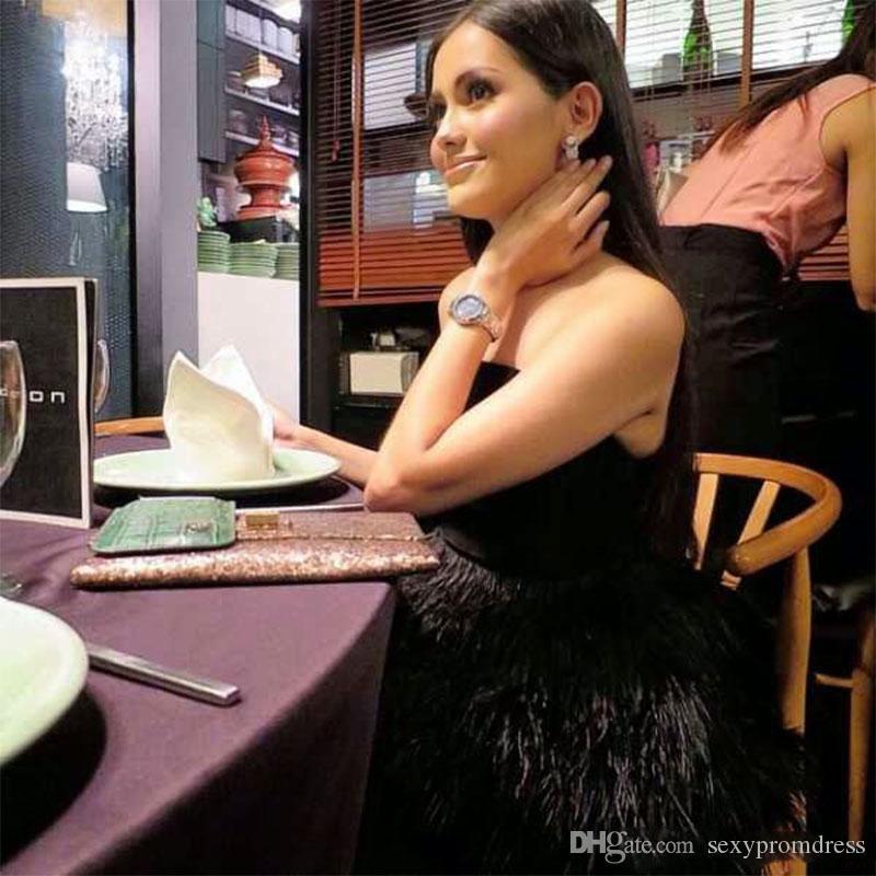 Schwarze Feder Abendkleider sexy trägerlosen Schößchen Abendkleider Mantel bodenlangen Reißverschluss zurück Cocktail formale Partykleid