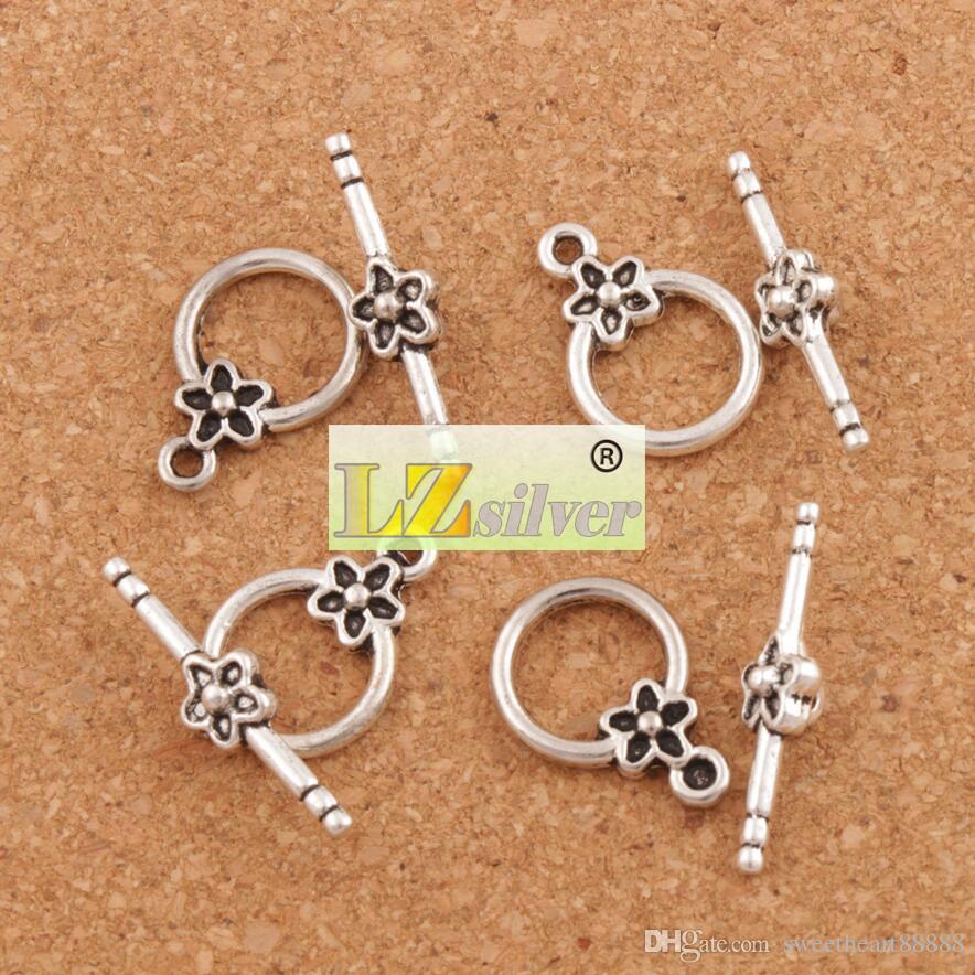 Plum Flower Pulsera de palanca de alternar / Resultados de la joyería de plata antigua Fit pulseras L847 Resultados de la joyería Componentes LZsilver