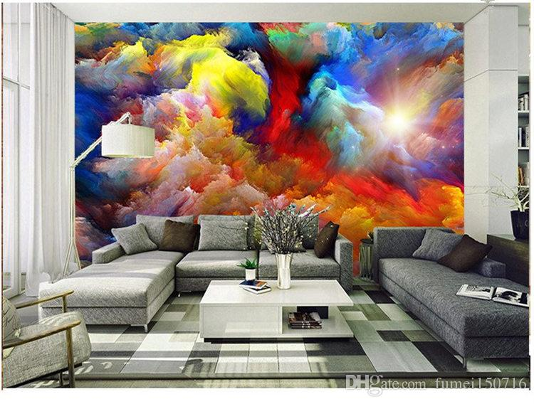Color cloud character large mural bar cafe restaurant condole top leisure wallpaper the sitting room the bedroom wallpaper