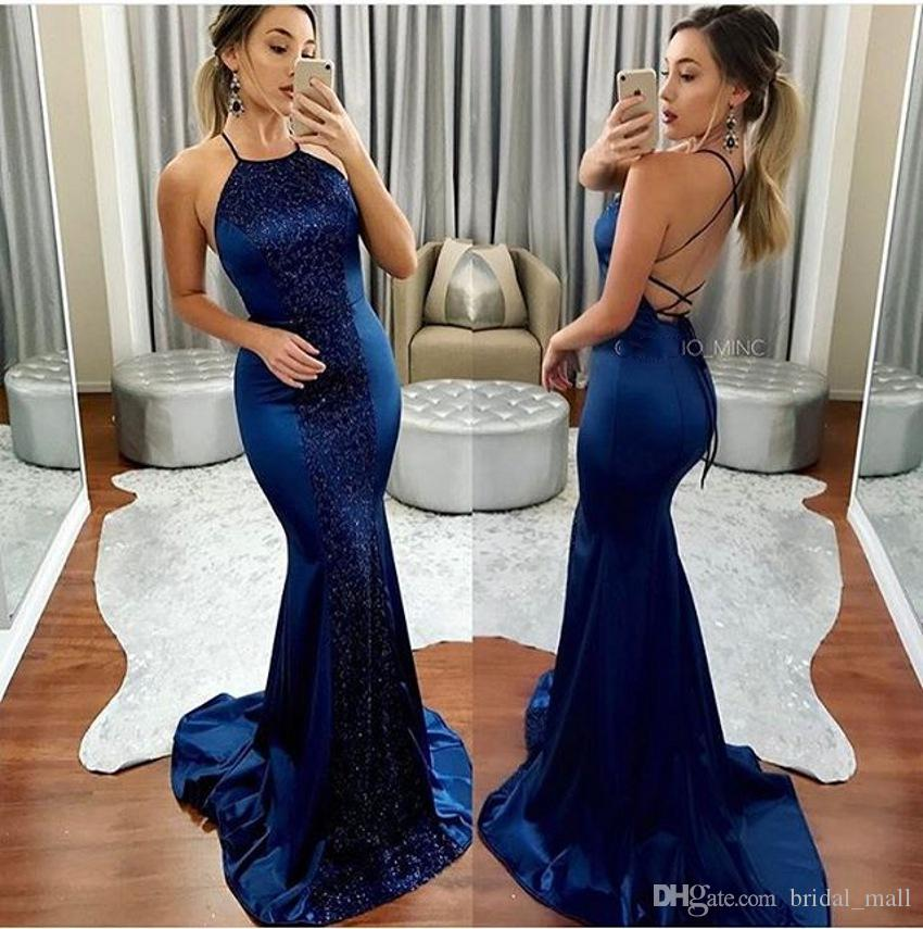 2018 Trendy Navy Blue Mermaid Prom Dresses Beaded Crystal Halter