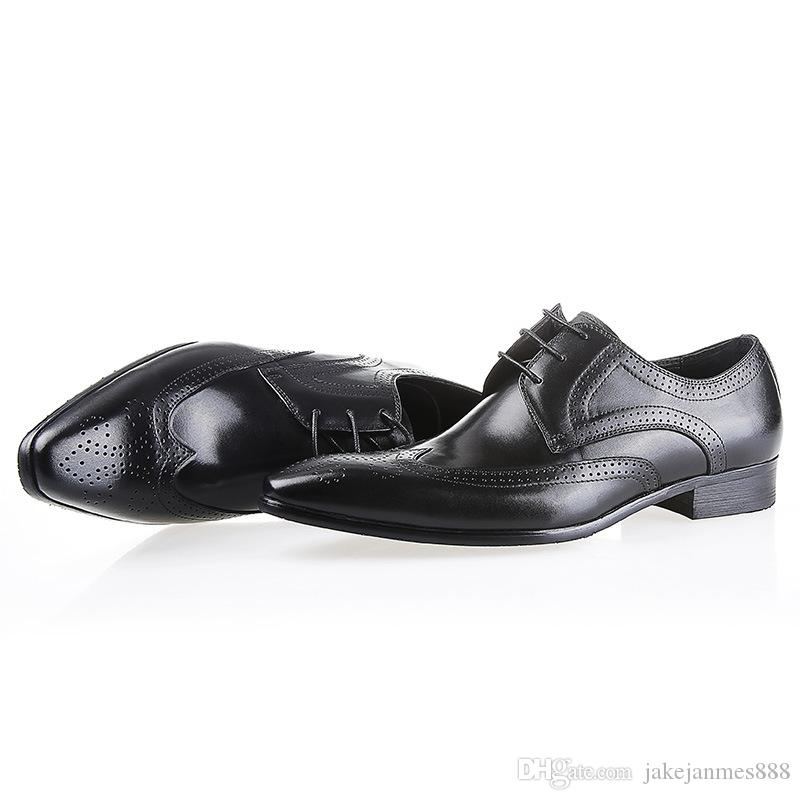 Leather shoes men with Europe and the United States version of pure leather shoes imported cowhide make dress shoes quality goods small size