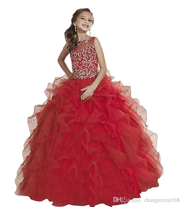 Beautiful red beaded sequins crystal Eugen yarn small round neck children's beauty dress custom size flower girl dress prom dresses