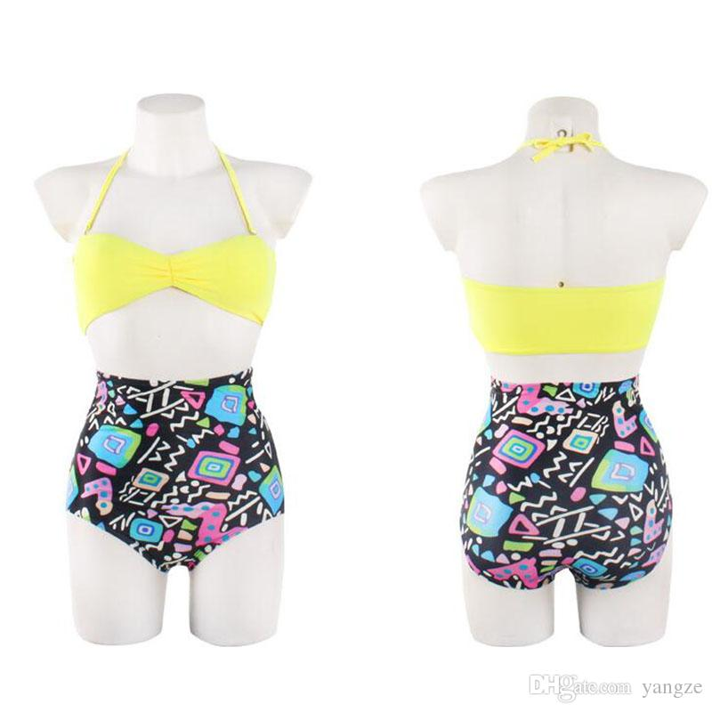 Removable Halter Bikinis Sexy Women Swimwear with Bow Top+ Floral Bottom High Waist Swimsuit Padded Push Up Bathing Suits Wholesal T066