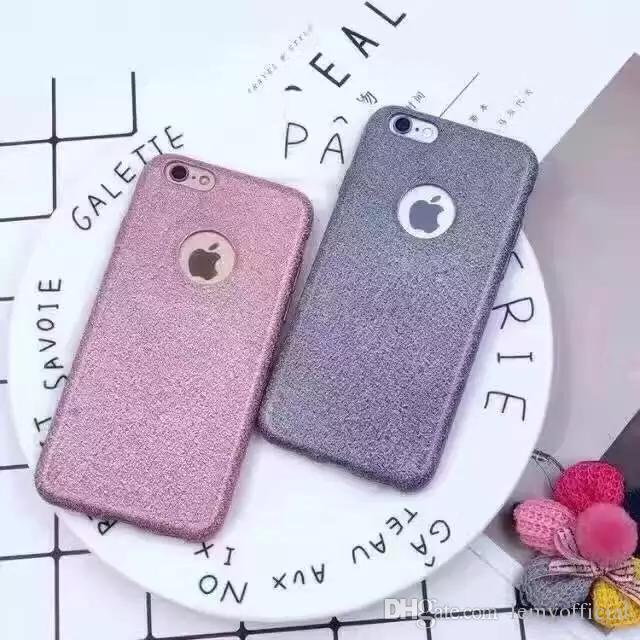 Plating Gold Sand Glitter Case for iPhone6 6s Plus TPU Soft Shiny Back Cover for iPhone7 / 7 Plus Phone Protective Cases