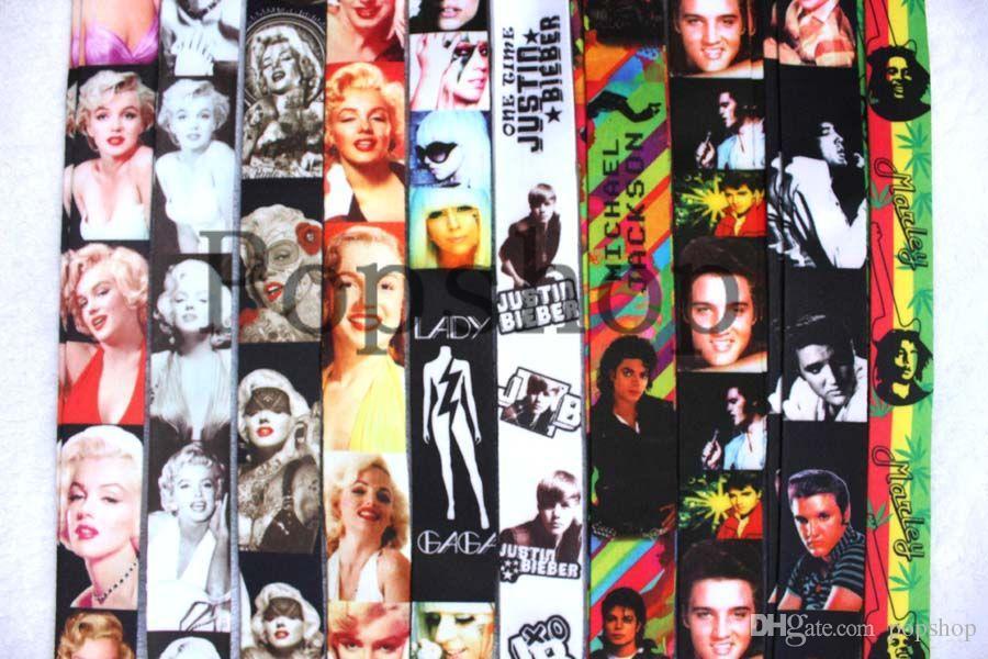 Envío gratis 50 unids sexo diosa Marilyn MonroeNeck serie Lanyard Strap teléfono celular tarjeta de identificación clave llavero