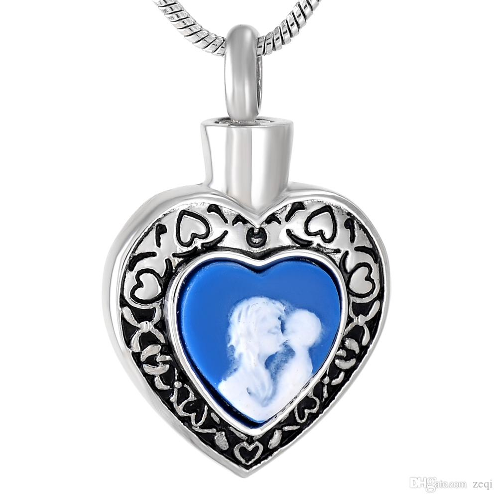 IJD9787 Charm Blue Stone Memorial Jewelry Human Ashes Urn Cremation Urn Pendant Necklace Funeral Casket Fashion Jewelry Women
