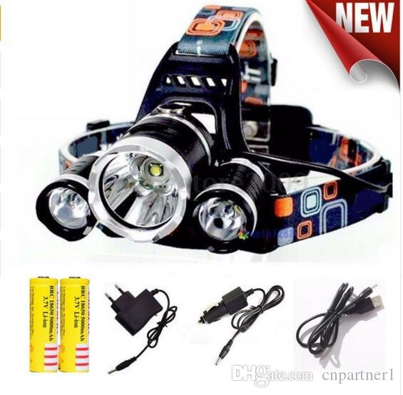 UP TO 9000lm Headlamp Led lighting Head Lamp Torch T6+2R5 LED Headlight Camping Fishing Light +2*18650 battery+Car EU/US/AU/UK charger+1*USB