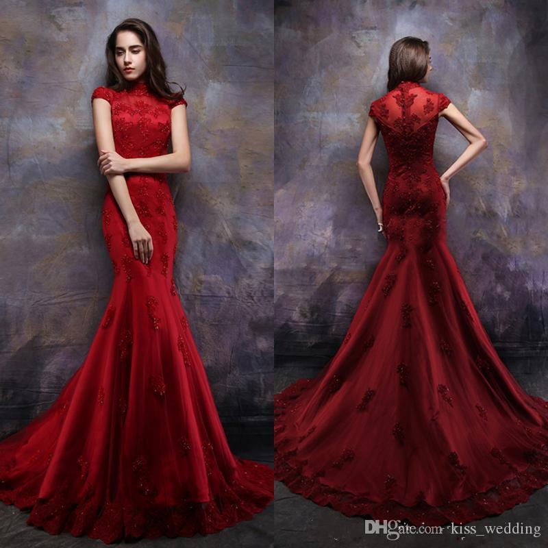 f62f2f3a478e Charming Red Long Evening Dresses High Neck Short Sleeves Womens Formal Gown  Dubai Style Arabic Custom Made Lace Beads Prom Dress Evening Dresses For ...