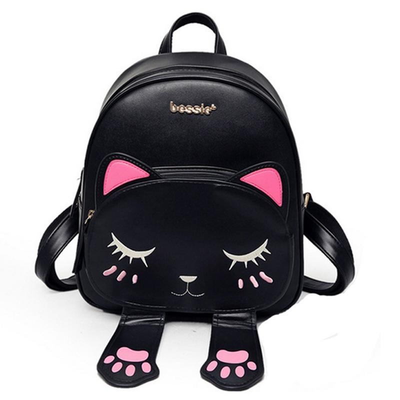 d187bbd1e7a6 Cat Bag Students Pu Backpack For Teenagers Girls Back Pack School Backpacks  Funny Preppy Leather Shoulder Travel Bag Mochila Back Pack Mochilas  Jansport ...