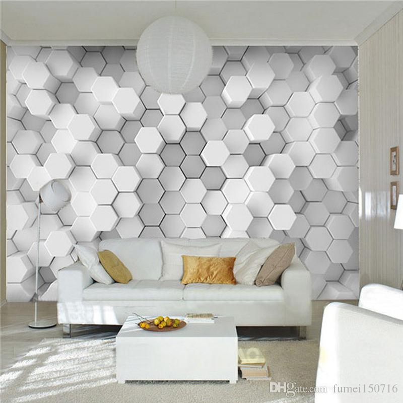 Custom photo wall paper 3d stereoscopic geometric for Wallpaper design for office wall
