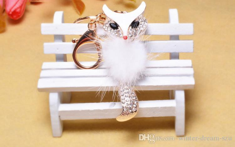 Lovely Fox Fur Ball Big Pompon Keychain Rhinestone Key Chain Ring Bag Purse Pendant Keyring For Women Cool Gift C135L