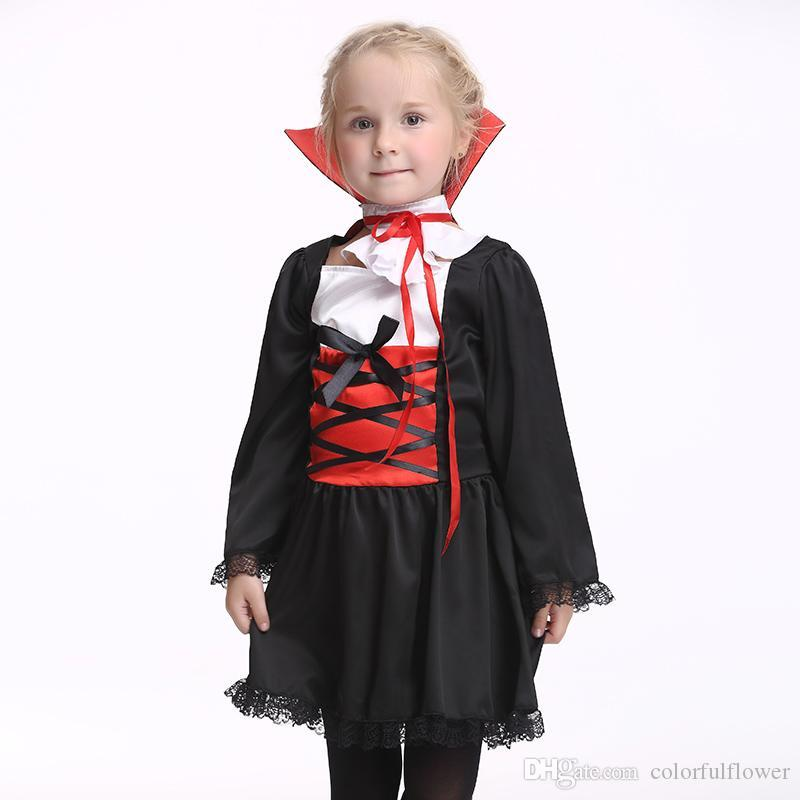 2018 95cm 135cm V&ire Clothes Kidu0027S Halloween Dress Little Girl Demon Clothing Suit Movie Props Evil Performance Dress Girl V&ire Costume 2# From ...  sc 1 st  DHgate.com : girl vampire costume  - Germanpascual.Com