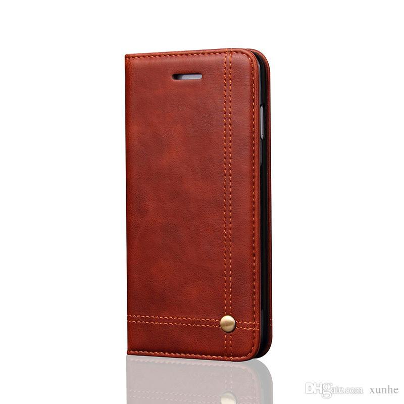 Funda de cuero de la cartera para la caja del teléfono móvil del iphone para iphone7 7plus 6 6s 6 más 6 s más para la caja de la tapa de Samsung s7 s7edge con magnético