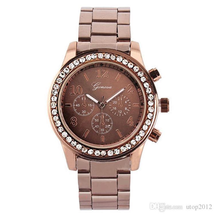 Utop2012 Großhandel Genf Drei Augen Diamant Edelstahl Quarzuhr 4 Optionen Braun Rose Gold Siver Coffe Farbe Luxus Fashion Watch