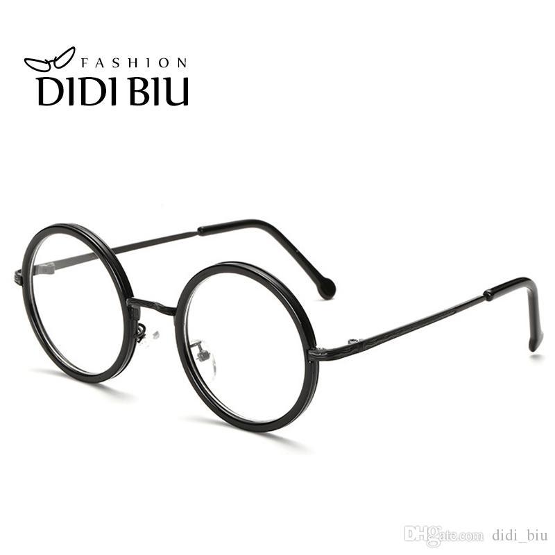 2018 Didi Small Round Clear Lens Eyeglass Frame Retro Thin Metal ...