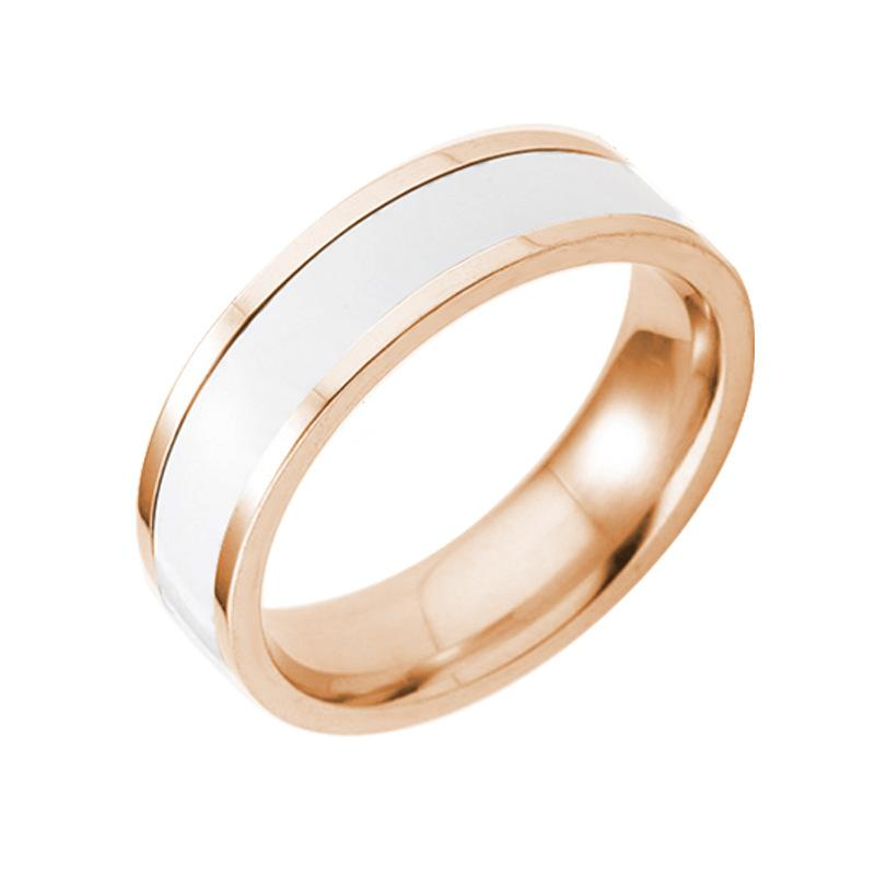 Black White Titanium Finger ring Rose Gold Simple Band Rings Cuff Two Tone Ring Wedding Couple Rings for Women Men Lovers Wedding Jewelry