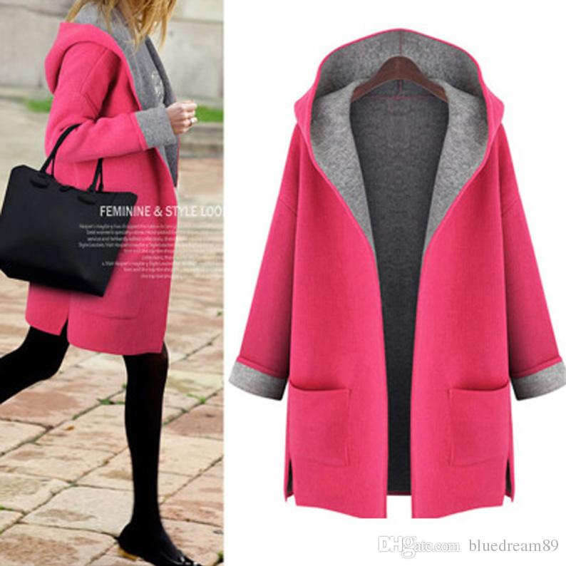 8aa06616cb5 2019 Autumn Wool Coats Woman Plus Size Loose Fat Women Winter Clothing  Hooded Cardigan Manteaux D'Hiver Pour Femmes Cheap Trench Coat Wholesale  From ...