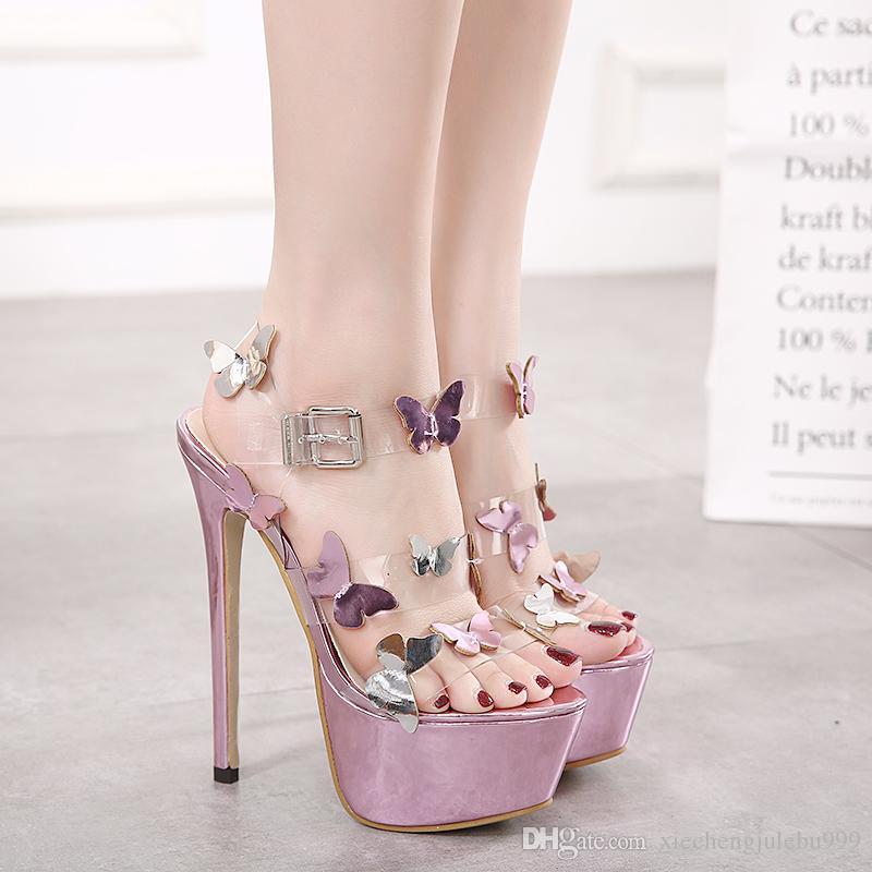 Sandalias de tacón alto de 16 cm Europea / Americana sexy peep-toe stilettos color de mariposa impermeable que combina una palabra cingulada púrpura transparente