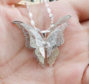 Regalo de Navidad las mujeres a estrenar de señora Girl joyería 925 de plata esterlina collar de la mariposa joyería apta encanto de la manera