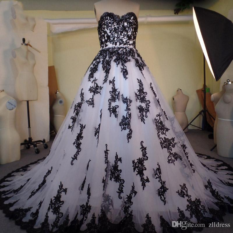 2017 Gothic Wedding Dresses Black And White Lace Sweetheart Bridal ...