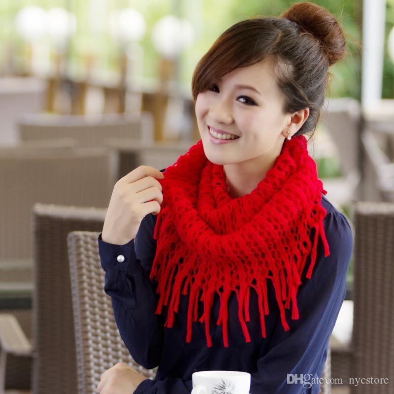 anéis mulheres cachecol malha lenços feminino Womens Inverno Knit Infinito Círculo do envoltório do lenço Cachecóis meninas borla senhoras lenço no pescoço